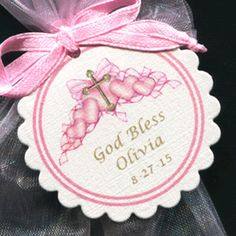 Personalized Baptism Christening Communion Favor Tags, pink hearts with gold cross, set of 50 by susiedees on Etsy https://www.etsy.com/listing/185970553/personalized-baptism-christening
