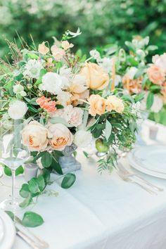 peach and white garden wedding centerpieces