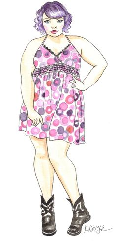My plus size fashion illustration of the adorable Mary Burgers from her tumblr (premierbonheur)
