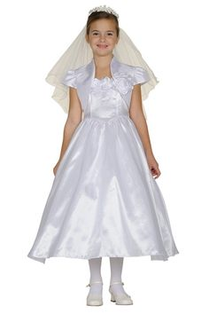 This lovely white Communion dress by designer Cinderella Couture will add a stylish touch to any girl's special day. This adorable super elegant 2 piece taffeta dress features rose flowers decorations. The dress comes with a bolero that adds a finishing White Communion Dress, Holy Communion Dresses, White Flower Girl Dresses, White Dress, Dresses 2013, Girls Dresses, Taffeta Dress, Dresses For Less, Satin Roses