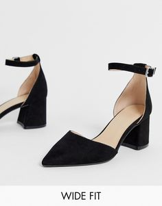 70b4b6051 Simply Be wide fit Estee pointed block heel shoe with ankle strap in black