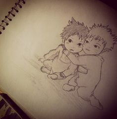 Baby naruto and sasuke:manga :) drawing..