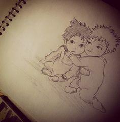 Baby naruto and sasuke:manga :) drawing..
