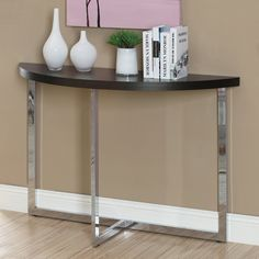 Monarch I 3039 Metal Sofa Console Table - Cappuccino / Chrome | from hayneedle.com