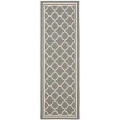 $47  Dark Grey/ Beige Indoor Outdoor Rug (2'4 x 9'11)