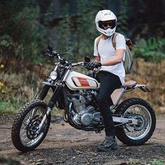 Suzuki (with Yamaha XT tank) from like on the throttle . - Yamaha - # on # - - Tracker Motorcycle, Scrambler Motorcycle, Moto Bike, Honda Motorcycles, Motorcycle Style, Custom Motorcycles, Custom Bikes, Bobber, Motorcycle Quotes