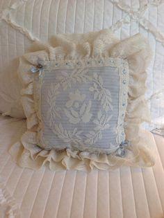 1950s blue filet lace boudoir pillow vintage by PillowsBeyond