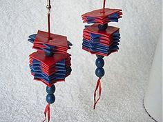 Náušnice - Plátky modro-červené - 4059533_