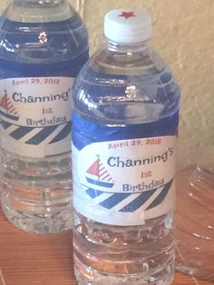Nautical (Sailor) theme party ideas customer labeled bottled water