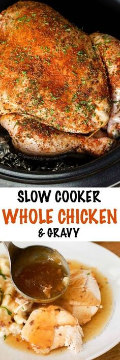 Slow Cooker Whole Chicken & Gravy! A complete Sunday meal in one pot. While…