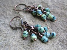 Lime Green and Copper Dangle Earrings by valleybeadglassart
