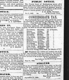 The Western Democrat newspaper, Charlotte, NC  Oct 20, 1863