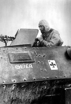 """panzerknacker88: """"One MG-Schütze in a Schützenpanzer Sd.Kfz. 250 during the winter defense battles south of Rostov. """""""