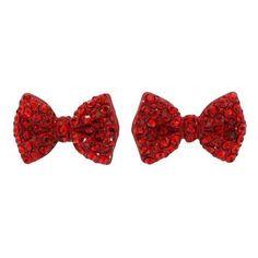 New Fashion Women Crystal Rhinestone Red Color Bow Post Studs Earrings Gift #ebayshop #Stud