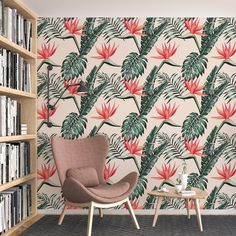 Birds of Paradise Pattern Removable Wallpaper, Floral Wall Cling, Botanical Peel and Stick, Modern Home Decor, Decorative Wall Mural Decal - Smooth Wall Decal / 1 roll: 24W x 96H