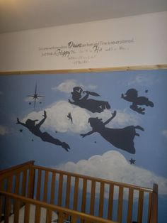 Archie's nearly finished Peter Pan painted Nursery room with wall quote! My favorite room in the house! - lets hope he never grows up too!