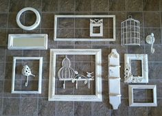 White Bird Theme Wall Gallery / Bird Frames & Wall Hooks / 13 Pieces. $149.00, via Etsy.