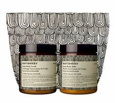 Aesop-Marimekko Sauna Duet - a body scrub and body balm containing richly aromatic essential oils of Fir Needle, Sage Leaf and Pine Needle, and purifying ingredients to help detoxify the skin Marimekko, Aesop Skincare, Just My Luck, Body Care, Packaging Design, Bag Packaging, Balmain, Collaboration, Gift Guide