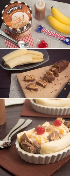 Dreyer's Baby Ruth Banana Split: Now THIS is a home run kind of dessert! In this easy no-bake recipe, place scoops of Dreyer's Caramel Delight Grand Ice Cream into a bowl. Then, slice a banana length-wise and add one slice on each side of the bowl. Meanwhile, unwrap a Baby Ruth and cut the candy bar into quarter inch pieces — add these pieces into the ice cream bowl, drizzle with caramel, and add cherries on top! This treat is sure to be a favorite with your family.