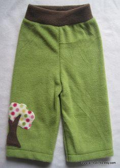 Fleece longies with bubble gum tree applique - 9-12 months - by WinkyDinks - $11