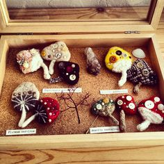 Felted Mushroom Pins with Antique Buttons & Gems by natsuko.m, via Flickr