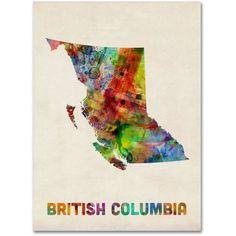 Trademark Fine Art British Columbia Watercolor Map Canvas Art by Michael Tompsett, Size: 35 x 47, Multicolor
