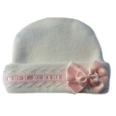 Baby Girls' Lovely White Baby Hat with Pink Lace. Best Seller! Lovely Newborn and Preemie Baby Girl Hats! 5 Sizes for Premature Babies, Micro Preemies and Newborn Infants to 6 Months. 100% Soft Cotton Interlock Knit. Made in the USA! By Jacqui's Preemie Pride