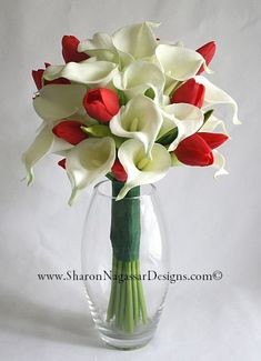 calla lily and tulip bouquet | 1131306-Red-White-CallaLily-Tulips