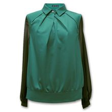 Jasi  Co JSDJ 2255-Green Long SleeveTop Turn-down Collar Shirt Pleated With Panels(China (Mainland)) visit http://www.jasiandco.com/