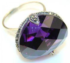 Fancy Look Of Alexandrite Quartz Sterling Silver ring s. 8