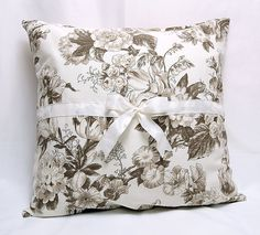 Light Brown Taupe Beige Sepia Floral Print on Cream by MyveraLinen, $20.00