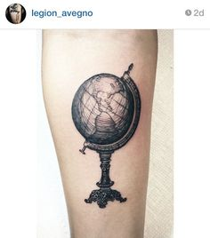 Beautiful black and white globe tattoo