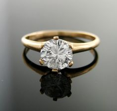 One Carat Vintage Diamond Solitaire Engagement Ring by baffy21. , via Etsy.