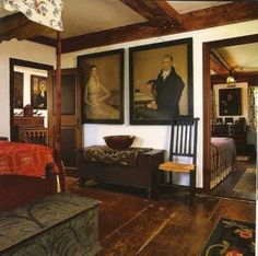 Eye For Design: Decorating In The Primitive Colonial Style Primitive Living Room, Primitive Homes, Country Primitive, Primitive Bathrooms, Country Farmhouse, French Country, Farmhouse Decor, Prim Decor, Country Decor