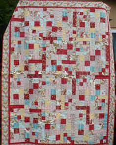 Twin or day Bed Quilt in Red Yellow and Blue by lindahquilts, $250.00