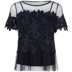 Elie Tahari Noreen Lace Mesh Blouse ($410) ❤ liked on Polyvore featuring tops, blouses, cami top, blue lace top, blue lace camisole, mesh top and blue top