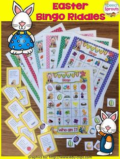 Easter Bingo Riddles- Guess the Rhyming riddles and target comprehension, naming to a description, seasonal vocabulary, inference and rhyme! By Speech Sprouts Easter Bingo, Easter Party, Rhyming Riddles, Riddles Kids, Speech Therapy Activities, Language Activities, Easter Activities, Party Activities, Easter Speeches
