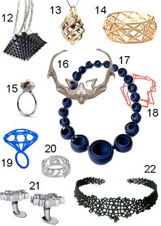 Get the Look: 22 Pieces of (Really Great) Jewelry - StyleCarrot 3d Fashion, Fashion Jewelry, 3d Printer Designs, Jewelry Accessories, Jewelry Design, 3d Printed Jewelry, 3d Printing Service, 3d Printing Technology, 3d Prints
