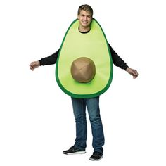 The Avocado Costume for adults includes a green tunic designed to look like an avocado half and a detachable avocado pit. If avocado is your favorite food, dress up as one in this costume! Trendy Halloween, Theme Halloween, Cute Halloween Costumes, Adult Halloween, Halloween Desserts, Costume Fruit, Avocado Costume, Avocado Man, Vegetable Costumes