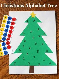 Christmas Alphabet Sticker Tree: Learning Letters Practice letter recognition with this simple Christmas sticker tree The post Christmas Alphabet Sticker Tree: Learning Letters appeared first on Crafts. Christmas Alphabet, Preschool Christmas, Noel Christmas, Simple Christmas, Preschool Crafts, Crafts For Kids, Christmas Crafts, Alphabet Activities, Preschool Activities