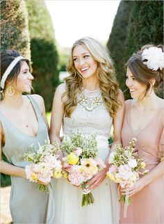 love this cohesive bridal party look // spring bridal looks via wedding chicks Wedding Pics, Chic Wedding, Wedding Bells, Wedding Styles, Dream Wedding, Wedding Ideas, Wedding Cakes, Wedding Flowers, Wedding Trends