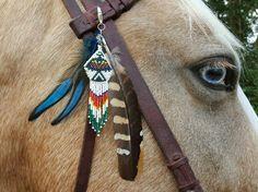 Beaded and Feathered Equine Mane or Bridle by MyBuddyBling on Etsy