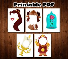 Beauty and the Beast Photo Booth Props - Printable PDF - Princess Party Photo Props - Belle - Lumier Zombie Eyes, Photobooth Props Printable, Princess Party, Baby Princess, Princess Birthday, Diy Party, Party Ideas, Beauty And The Beast Party, Disney Day