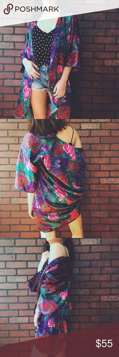 🆕 Luxurious Garden Kimono Luxurious Garden Kimono. I love mixing prints and this kimono is the perfect throw over a polka dot Cami! One size fits all! With 3/4 sleeves and a large oversized fit. No brand Free People Jackets & Coats