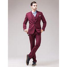 Burgundy Serge Slim Fit Three-Piece Suit – USD $ 77.99