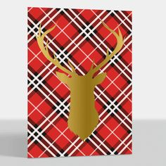 Red Plaid Gold Foil