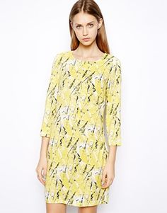 Warehouse Yellow Texture Print Shift Dress