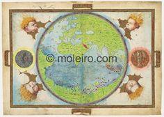Planisferio, Atlas Miller. M. Moleiro - fine art reproductions of ancient manuscripts & folios. Barcelona.