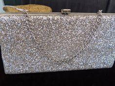 Sparkly Vintage Silver Clutch Purse 1960's by MartiniMermaid