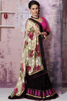 Beautiful Black and Beige Saree